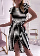 Striped Asymmetric Slit Mini Dress
