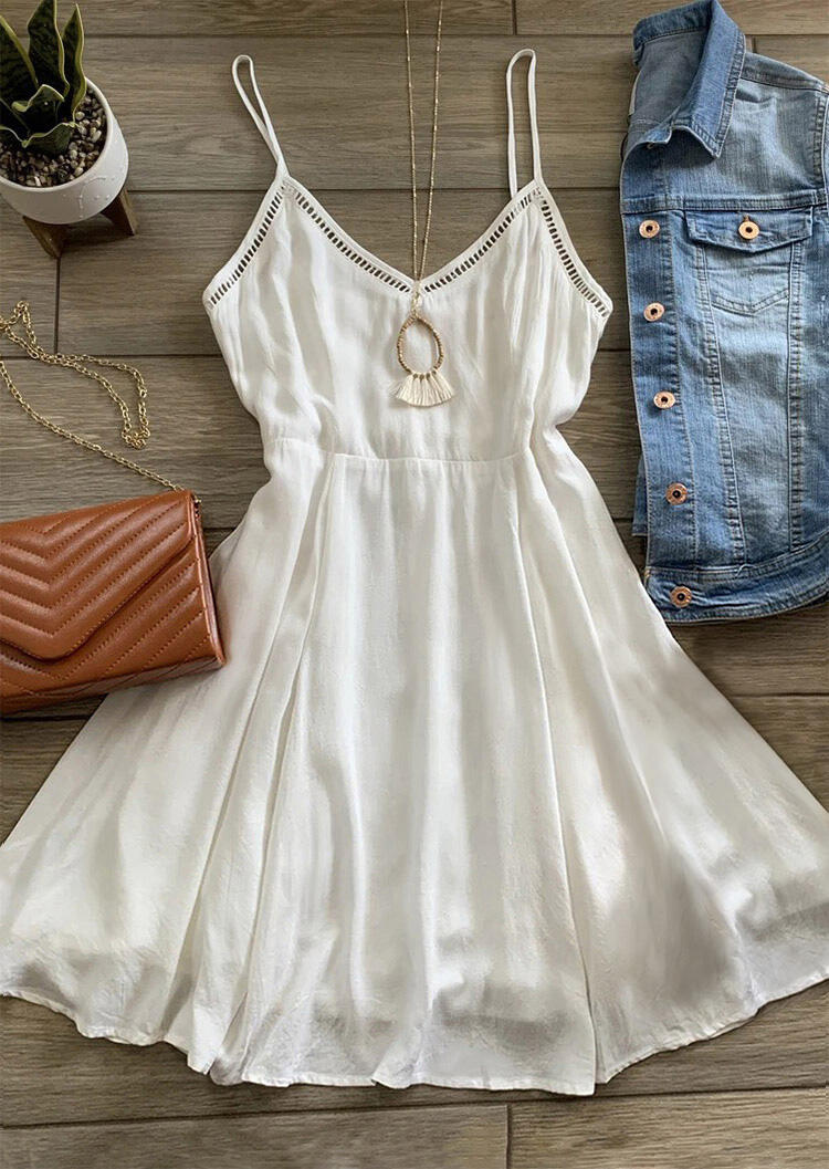 Mini Dresses Hollow Out Ruffled Spaghetti Strap Mini Dress without Necklace in White. Size: S,M,L,XL фото