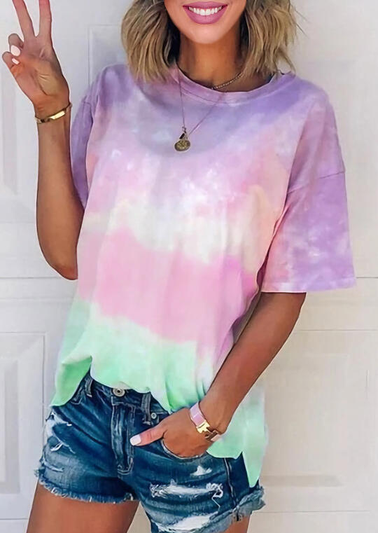Tie Dye Gradient Color T-Shirt Tee without Necklace фото