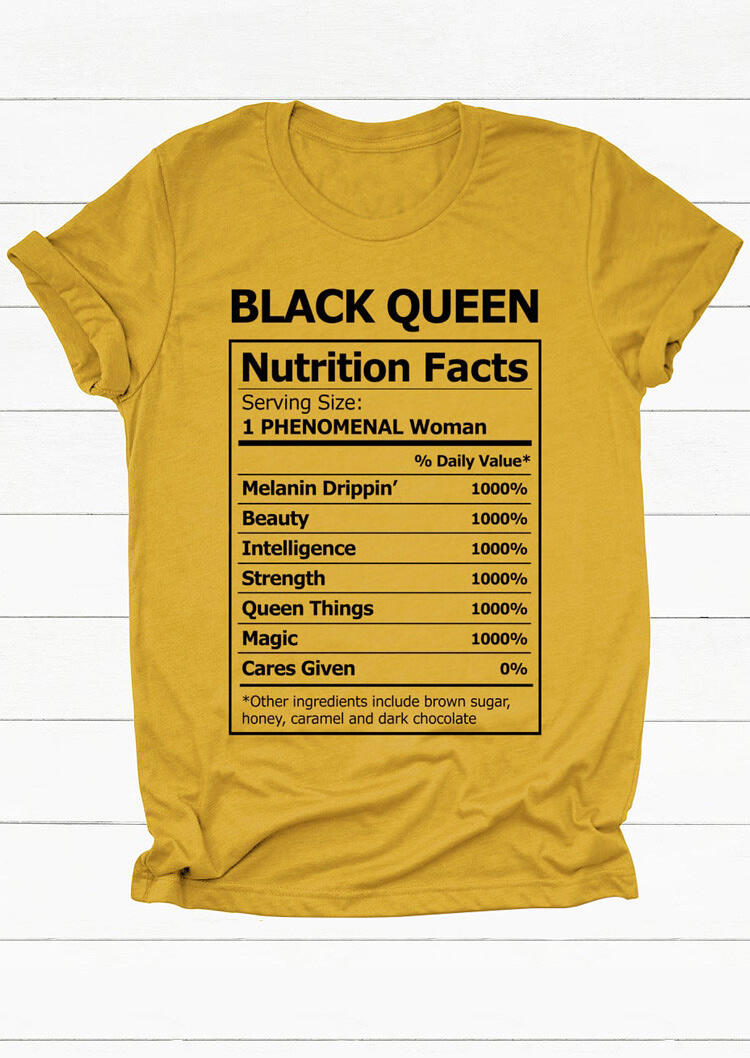 Black Queen Nutrition Facts T-Shirt Tee - Yellow фото