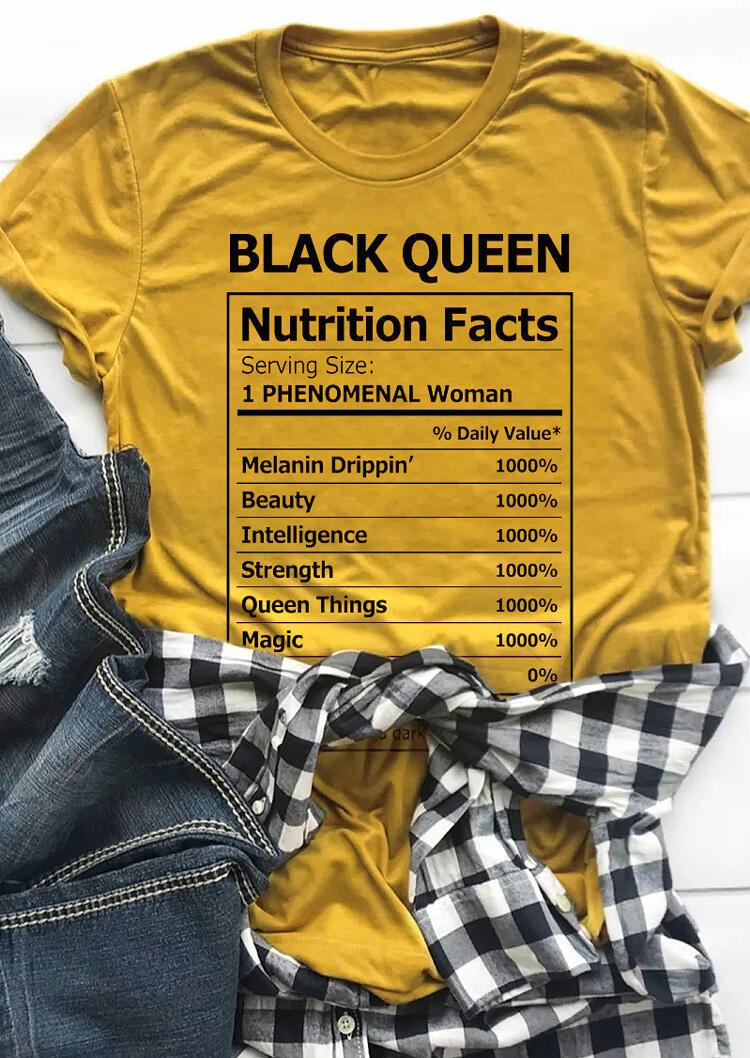 Tees T-shirts Black Queen Nutrition Facts T-Shirt Tee in Yellow. Size: S,M,L,XL фото