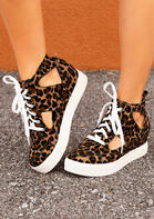 Fairyseason Clothing Leopard Lace Up Hollow Out Sneakers