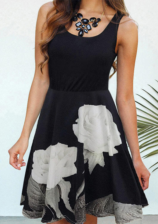 Mini Dresses Rose O-Neck Sleeveless Mini Dress without Necklace in Black. Size: S,M,L,XL фото
