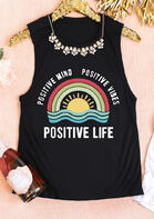 Fairyseason Clothing Positive Mind Positive Vibes Positive Life Rainbow Tank