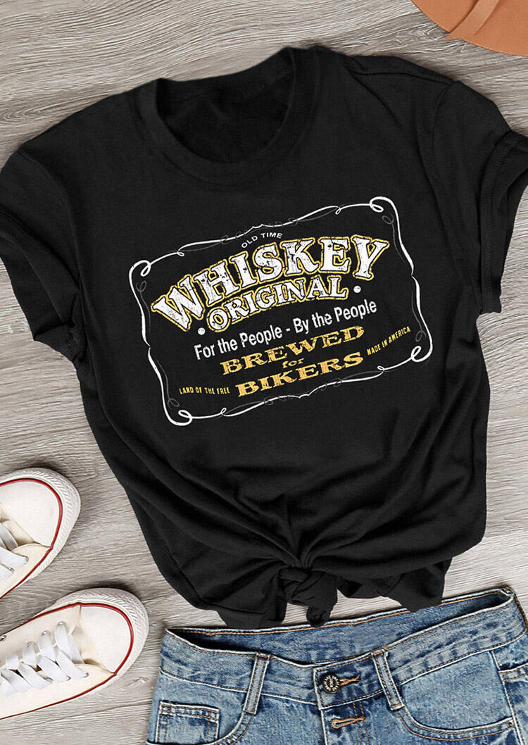 Tees T-shirts Whiskey Original T-Shirt Tee in Black. Size: S,M,L фото