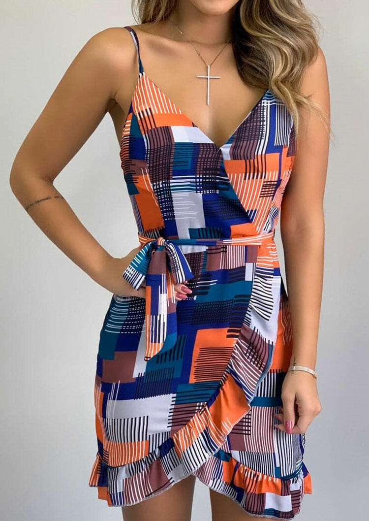 Color Block Ruffled Wrap Open Back Spaghetti Strap Mini Dress without Necklace фото