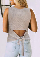 Hollow Out Knitted Tie Tank