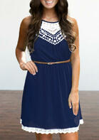 Lace Splicing Hollow Out Sleeveless Mini Dress