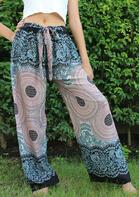 Mandala Floral Pocket Drawstring Pants