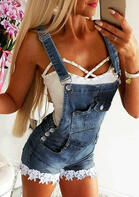 fairyseason clothing - Lace Splicing Pocket Button Denim Overalls Romper
