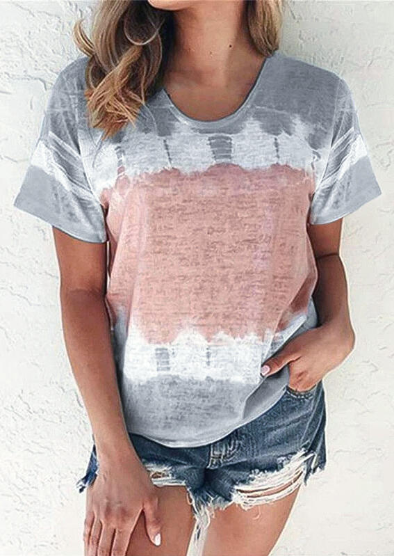 Tie Dye O-Neck T-Shirt Tee - Gray фото