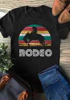 Rainbow Cowboy Rodeo T-Shirt Tee - Black
