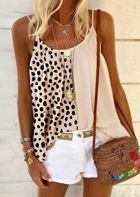 Leopard Polka Dot Splicing Ruffled Camisole without Necklace - Apricot фото