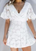Lace Splicing Hollow Out Wrap Floral Mini Dress
