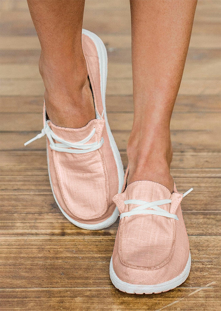 Lace Up Round Toe Flat Sneakers - Light Pink