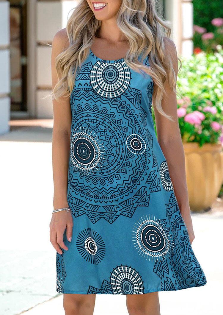 Mini Dresses Mandala Lace Splicing Hollow Out Mini Dress in Blue. Size: S,M фото