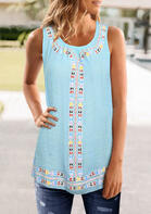 Fairyseason Vintage Ethnic Ruffled O-Neck Tank