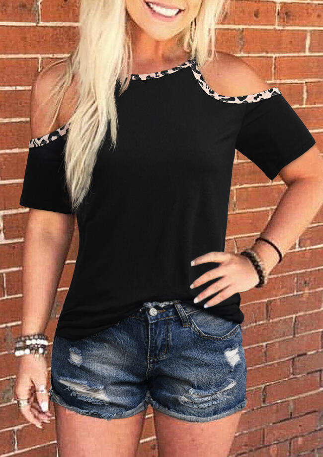 Leopard Splicing Cold Shoulder Blouse without Necklace - Black фото