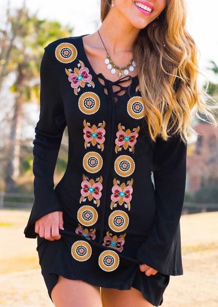 Vintage Floral Lace Up Mini Dress without Necklace - Black фото