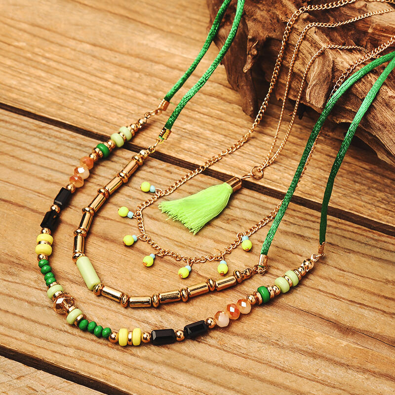 Beading Tassel Multi-Layered Pendant Necklace