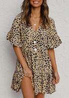Leopard Ruffled Button V-Neck Mini Dress