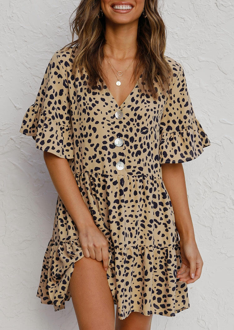 Mini Dresses Leopard Ruffled Button V-Neck Mini Dress without Necklace in Leopard. Size: S,M,L,XL фото