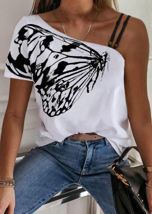 Butterfly Slash-Neck Blouse without Necklace - White фото
