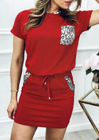 Leopard Splicing Pocket T-Shirt + Drawstring Skirt Outfit