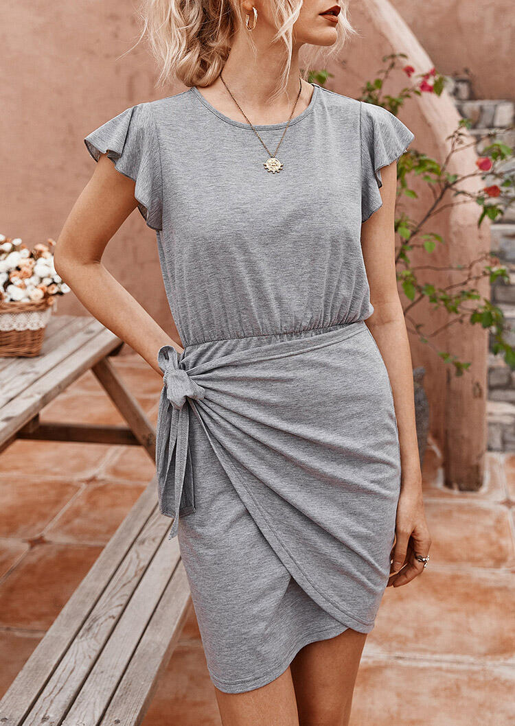 Ruffled Wrap Tie Mini Dress without Necklace - Gray фото