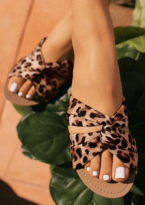 Leopard Twist Flat Slippers фото