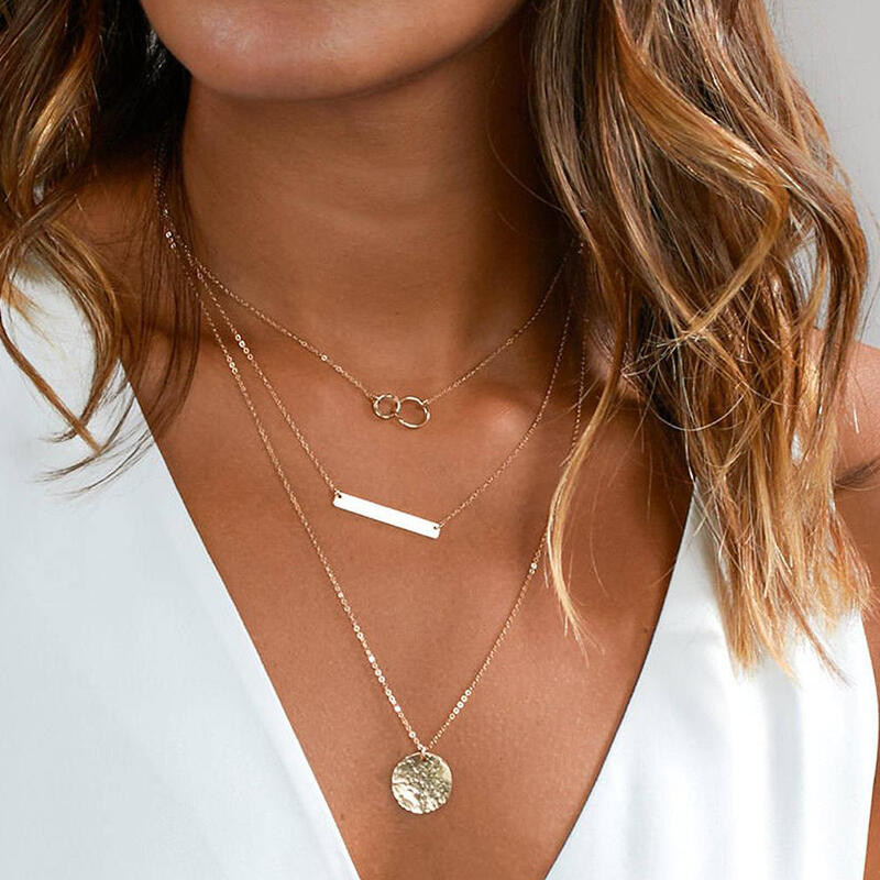 Geometric Round Multi-Layered Pendant Necklace фото