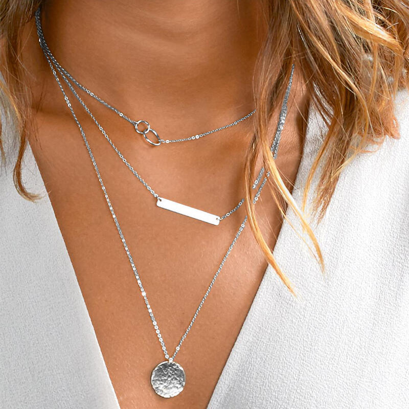 Necklaces Geometric Round Multi-Layered Pendant Necklace in Gold,Silver. Size: One Size фото