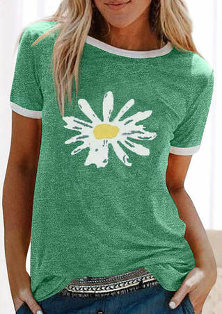 Daisy Floral Splicing O-Neck T-Shirt Tee - Green