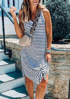 fairyseason clothing - Striped Slit V-Neck Casual Dress