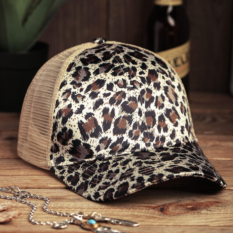 Hats Leopard Tiger Mesh Hollow Out Baseball Hat in Orange,Light Yellow. Size: One Size фото