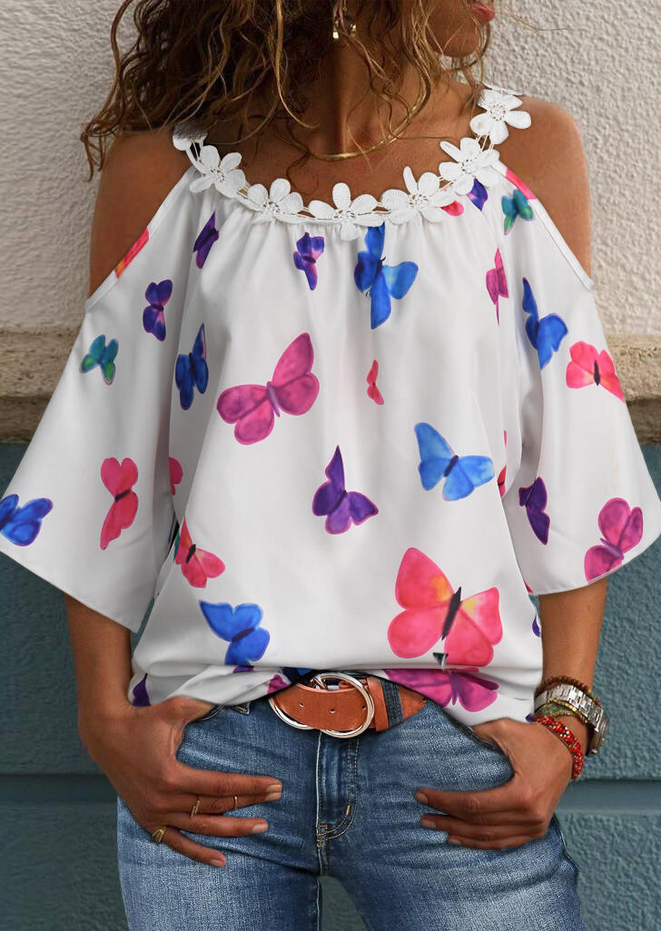 Lace Floral Butterfly Splicing Cold Shoulder Blouse without Necklace - White фото