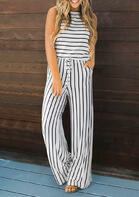 Striped Splicing Hollow Out Pocket Drawstring Tie Jumpsuit