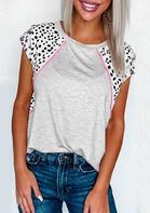 New Arrivals for Women - Leopard Splicing O-Neck T-Shirt Tee