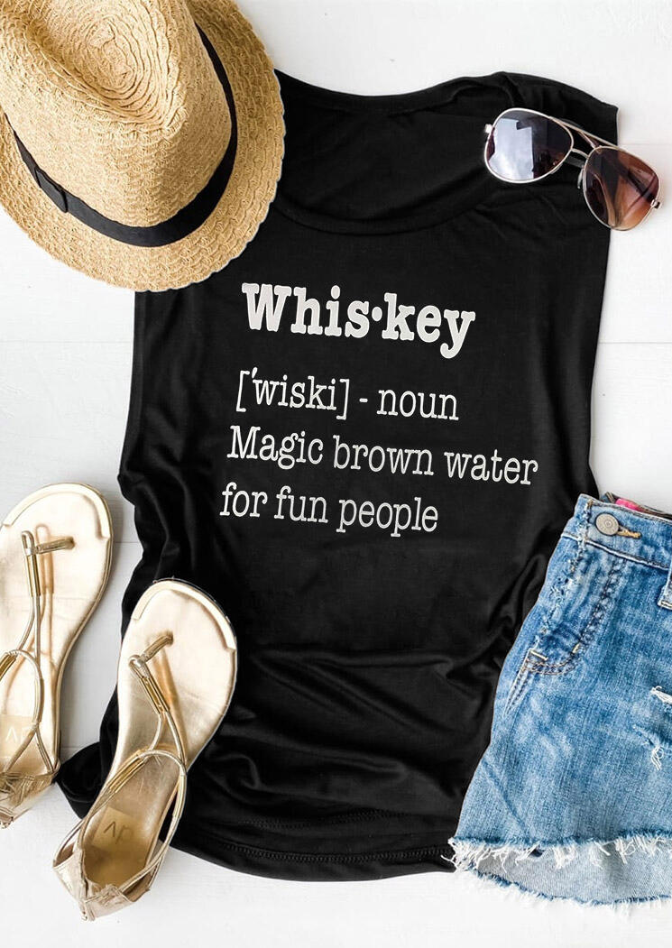 Tank Tops Whiskey Magic Brown Water for Fun People Tank in Black. Size: S фото
