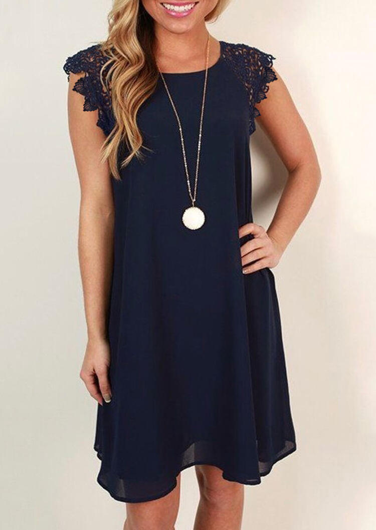 Lace Splicing Mini Dress without Necklace - Navy Blue фото