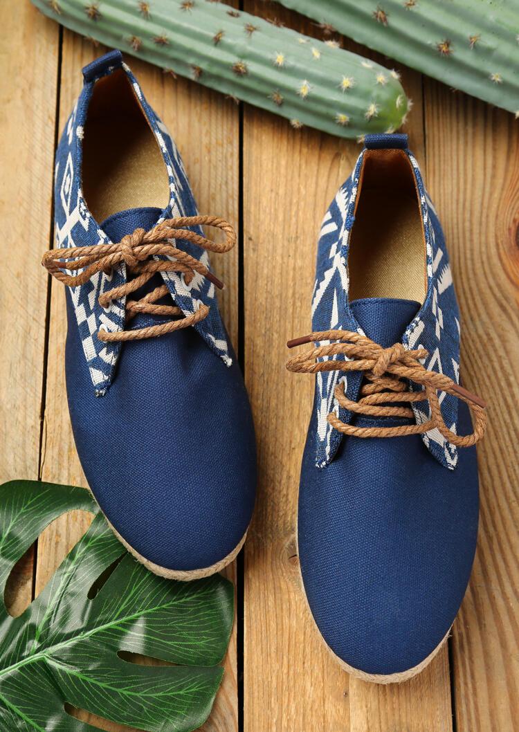 Geometric Round Toe Lace Up Flat Sneakers - Deep Blue фото