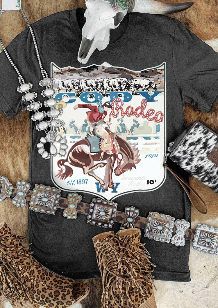 Western Cowboy Cody Rodeo T-Shirt Tee - Gray фото