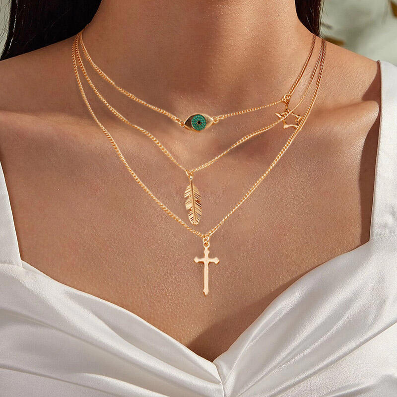Cross Feather Pendant Multi-Layered Necklace
