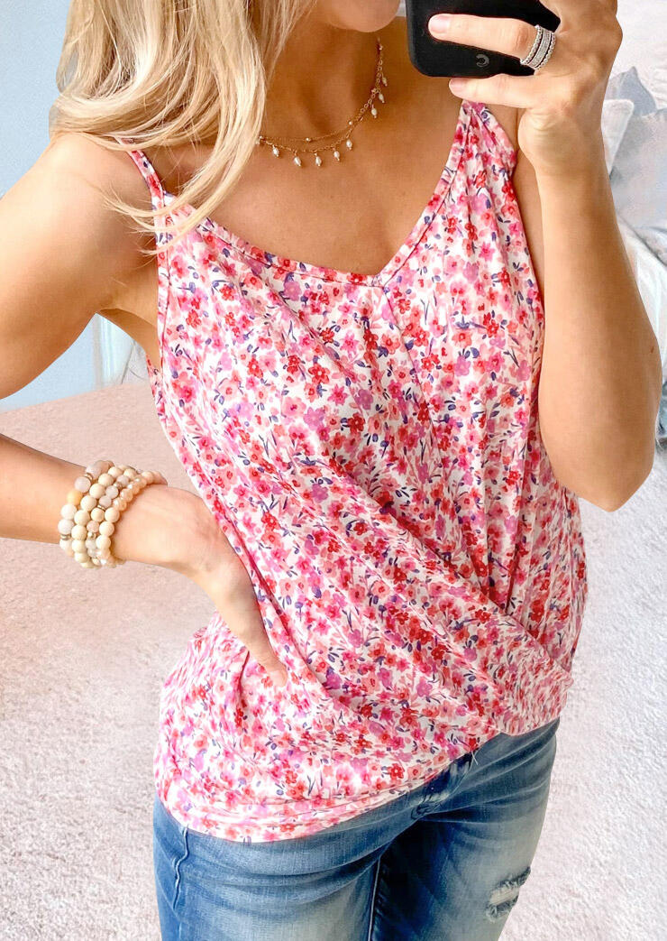 Floral Wrap Camisole without Necklace - Pink thumbnail