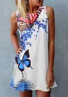 Butterfly Floral O-Neck Mini Dress