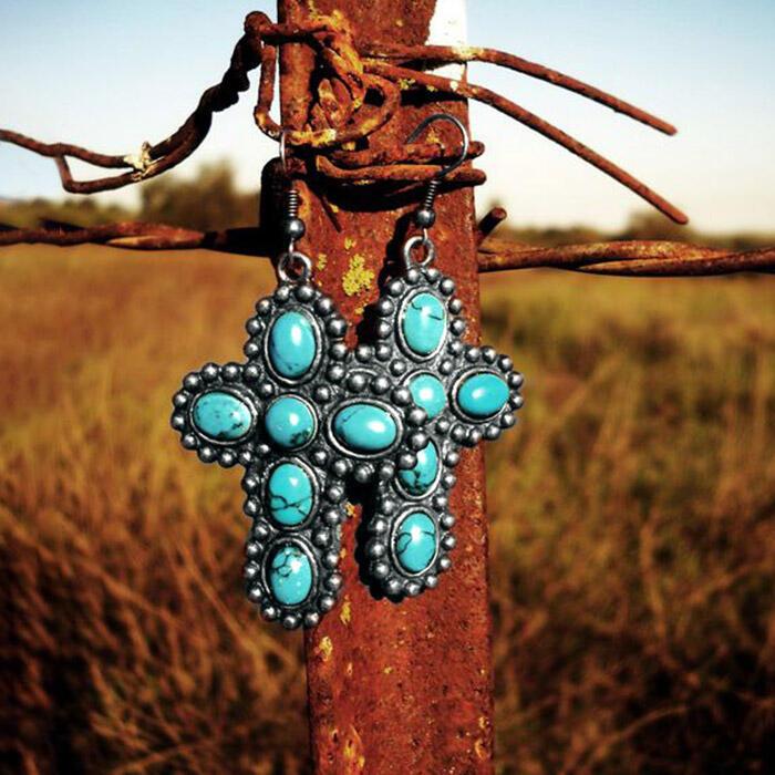 Vintage Turquoise Cross Earrings - Cyan фото