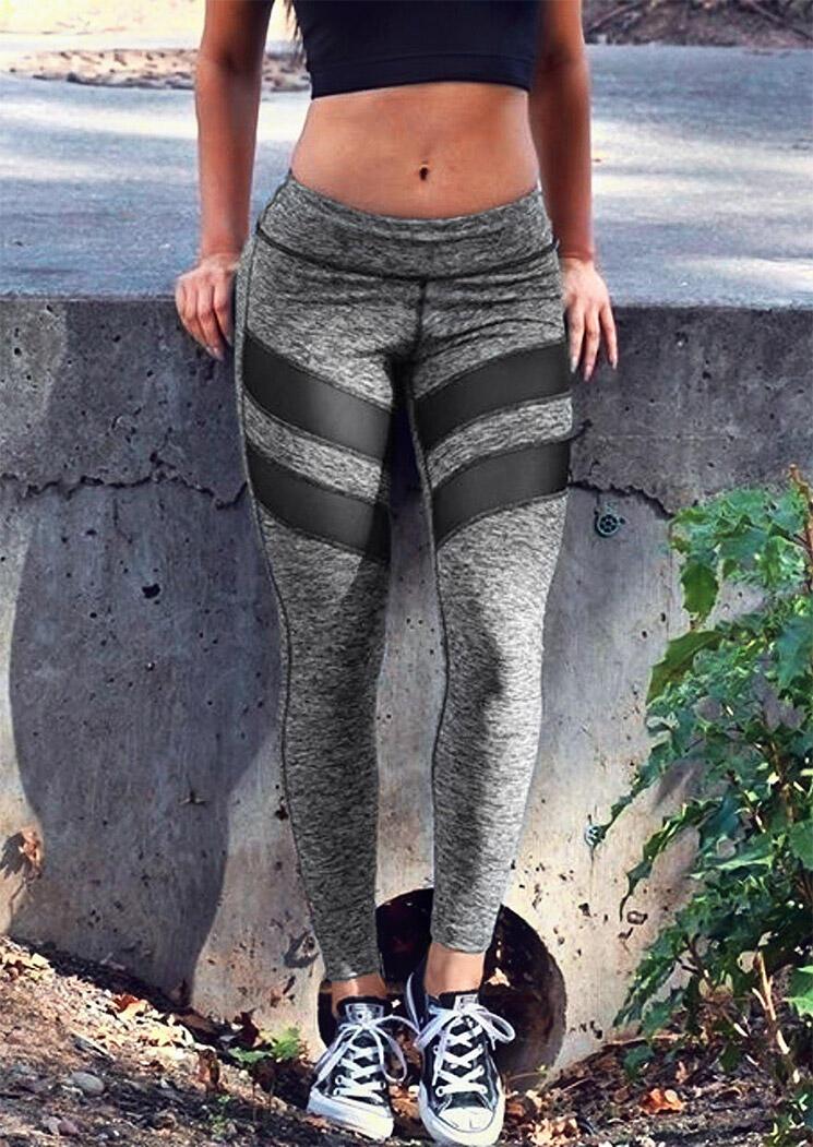Color Block Mesh Splicing Yoga Fitness Activewear Leggings - Gray фото
