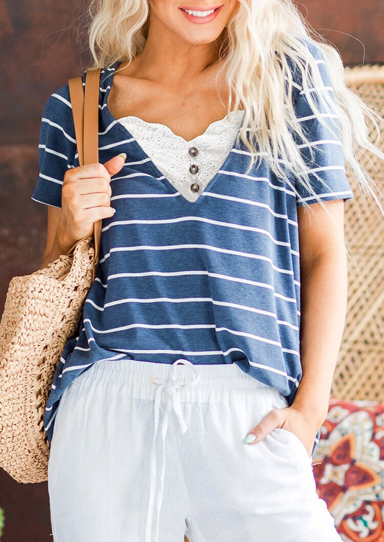 Striped Lace Splicing Button Blouse - Blue фото