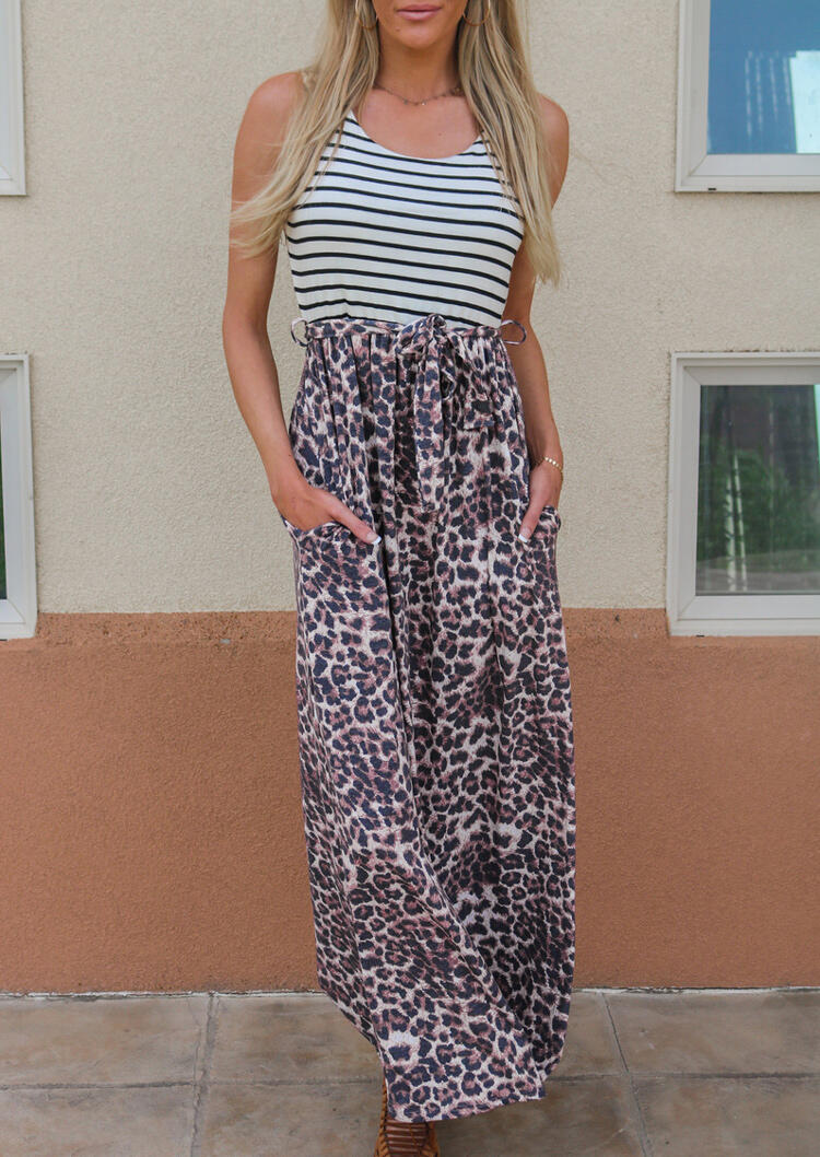 Leopard Striped Splicing Pocket Maxi Dress without Necklace thumbnail