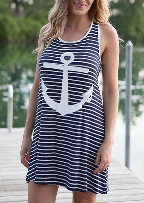 Striped Splicing Anchor Sleeveless Mini Dress фото